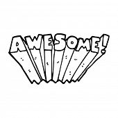 line drawing cartoon awesome word poster
