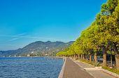 Promenade in Toscolano town on a Garda lake, Italy