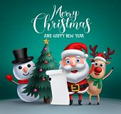 Merry Christmas Vector Banner Design With Christmas Character Like Santa Claus, Reindeer And Snowman poster
