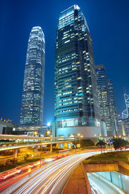 pic of hong kong bridge  - traffic night in downtown area hong kong - JPG