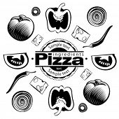 Ingredients for  vegetable pizza. Vector illustration in the engraving style, can be used for design