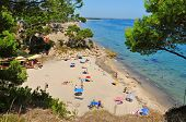 MONT-ROIG DEL CAMP, SPAIN - AUGUST 10: Vacationers in Cala dels Vienesos beach on August 10, 2012 in Miami Playa, Mont-roig del Camp, Spain. This small cove is 650 meters long and 25 wide