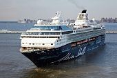 ST PETERSBURG - JULY 19: Mein Schiff 2 - second cruise ship of Tui Cruises in St Petersburg harbor,