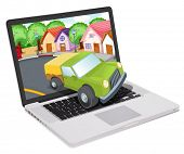 illustration of a laptop and jeep on a white background