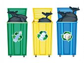 illustration of three dustbins on a white background