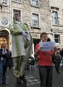 EDINBURGH- AUGUST 11: Members of Fat Git Theatre publicize their show Uninvited during Edinburgh Fri