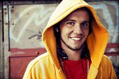foto of hooded sweatshirt  - Young man portrait in hooded sweatshirt  - JPG