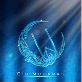 Greeting card with Arabic Islamic calligraphy of text Eid Mubarak. EPS 10.