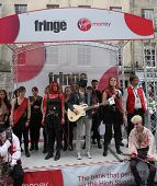 EDINBURGH- AUGUST 11: Members of Violet Shock Company publicize their show Beth during Edinburgh Fringe Festival on August 11, 2012 in Edinburgh