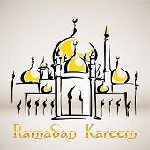 Illustration of Mosque Translation: Ramadan Kareen - May Generosity Bless You During The Holy Month