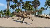 ceratosaurus on shore