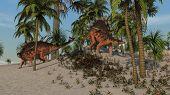 two kentrosauruses on hill