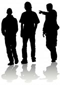 Vector image of young guys coming