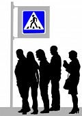 Vector image of pedestrians at a crosswalk