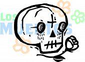 A Los Muertos Skull Drawn With A Rose