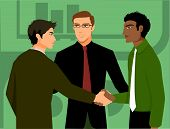 Two Men Shaking Hands; Being Introduced By A Third Man
