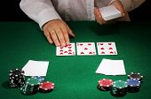 Poker setting on green table