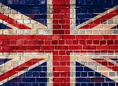Uk Flag On A Brick Wall Background