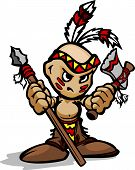 stock photo of tomahawk  - Cartoon Vector Illustration of a Tough Kid Indian Brave with Spear and Tomahawk in Hands - JPG