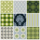 A collection of fair drinks and sweets. Set of nine colorful seamless patterns for backgrounds and w