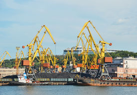 foto of coal barge  - Cargo crane ship freight traine and coal in port - JPG