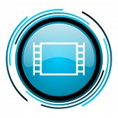 movie blue circle glossy icon