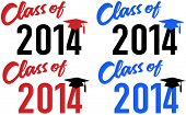 stock photo of senior class  - Class of 2014 graduation celebration announcement caps in red and blue school colors - JPG