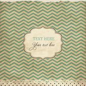 Vintage card with chevron background and frame