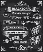 Chalkboard calligraphy banners. Vintage style blackboard design