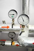 Thermometers On Industrial Water Pipeline