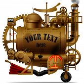 Vector isolated image of the complex fantastic machine with steam boiler, gears, levers, pipes, meters, furnace and flue