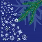 Spruce Branch With Snowflakes On Blue Background.