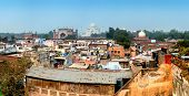 India, Agra city rooftop panorama view of Taj Mahal