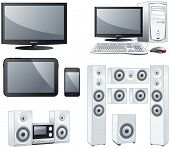 Electronic devices : TV, computer, tablet, smart phone, sound systems. Vector objects illustration set