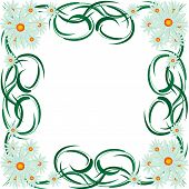 Abstract Floral Frame With Daisies.