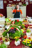 MOSCOW - MAY 18: Chef Anna Semenova shows how to properly choose and cook beef at culinary master class