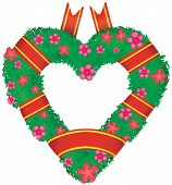 Wreath In The Shape Of A Heart,  Raster Illustration.