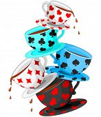 Set of colorful wonderland tea cups pyramid