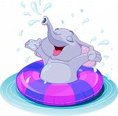 Summer fun elephant swimming