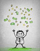 happy businessman throws money in the air