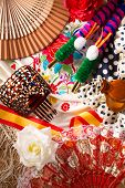 image of bullfighting  - Espana typical from Spain with castanets rose fan comb bullfighter and flamenco dress - JPG