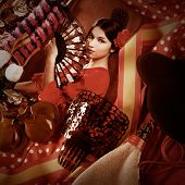 stock photo of wineskin  - Flamenco woman with bullfighter and typical Spain Espana elements like castanets fan and comb - JPG