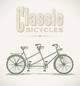 image of tandem bicycle  - Vintage illustration with a classic tandem bicycle - JPG