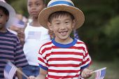 foto of parade  - Children at 4th of July parade - JPG
