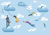 pic of aerialist  - Business men and business women are working in the cloud like acrobats swinging between clouds and cooperating between them - JPG