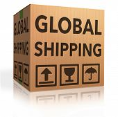global shipping or worldwide delivery of package from web shop in cardboard box