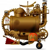 Raster version of vector isolated image of the complex fantastic machine with steam boiler, gears, levers, pipes, meters, furnace and flue