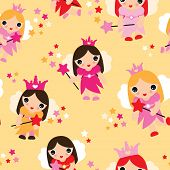 Seamless fairy princess kids illustration decorative background pattern in vector