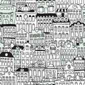 Seamless dutch architecture amsterdam streets illustration background pattern in vector