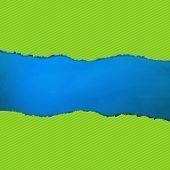 Blue Texture With Green Rip Paper With Gradient Mesh, Vector Illustration